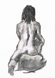 Charcoal 2013 Female Figure from Live Drawing Session