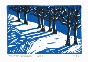 Linocut Winter Shadows 2