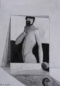 Pen and ink wash 2014 Selfie with Apple